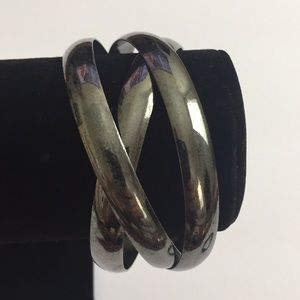 3pcs Vintage Jewelry Metal Grey Bangles